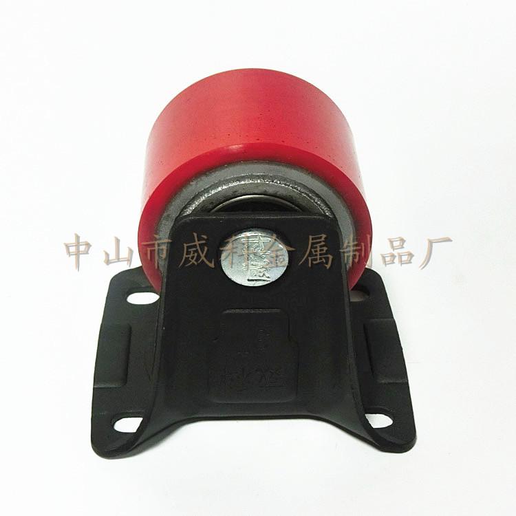 自买自售 3寸黑色支架红色PU跌芯红固定脚轮 储藏室展示移动架轮